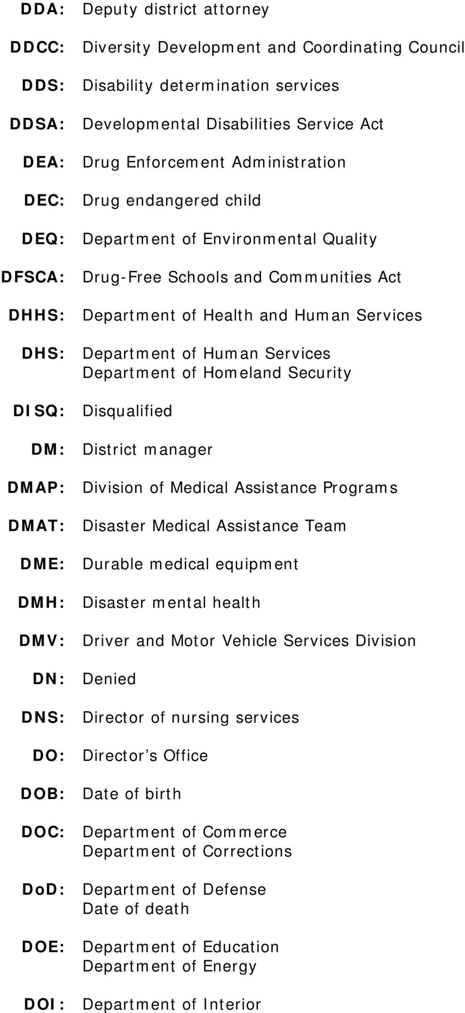 Services Department of Homeland Security DISQ: Disqualified DM: District manager DMAP: Division of Medical Assistance Programs DMAT: Disaster Medical Assistance Team DME: Durable medical equipment