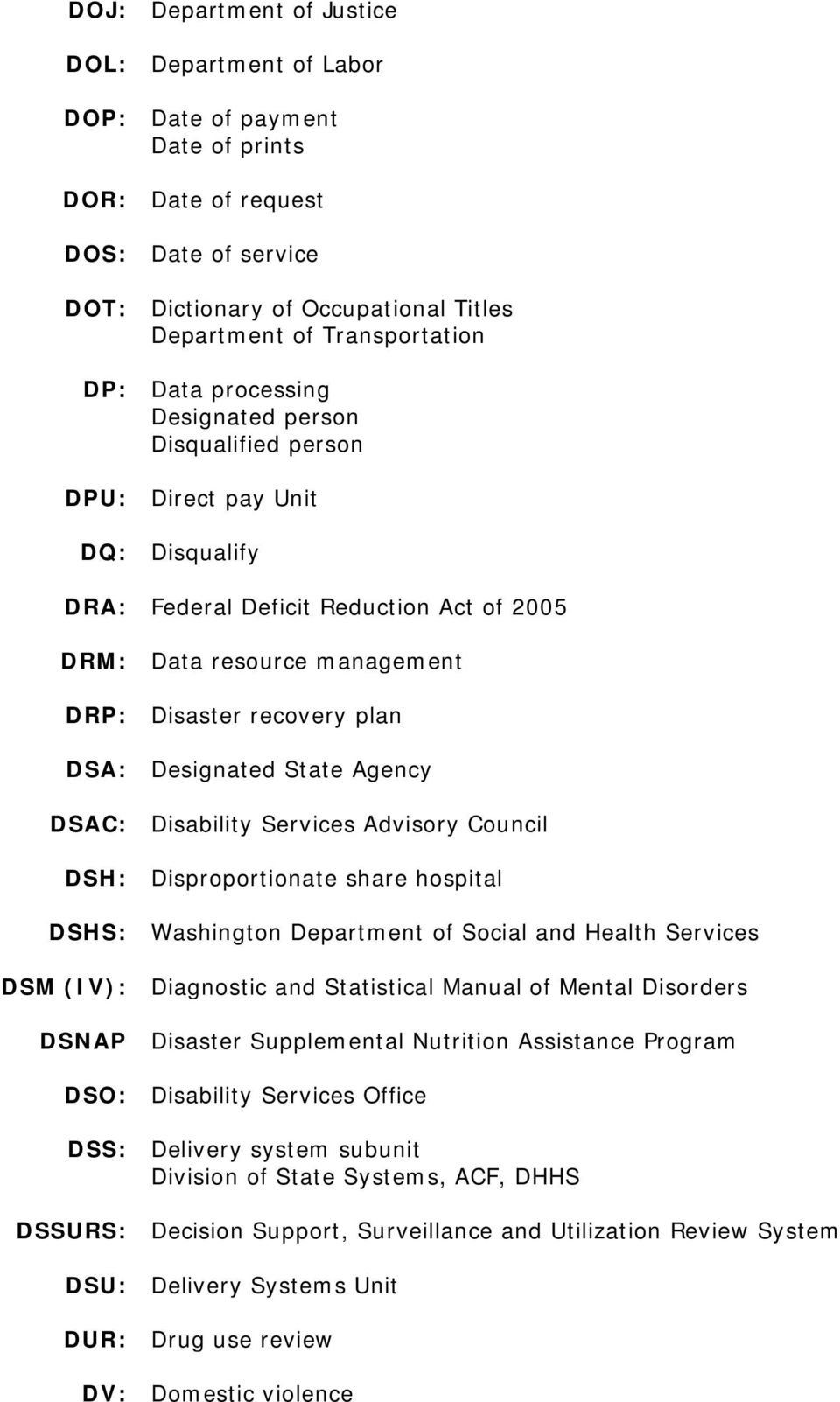 Designated State Agency DSAC: Disability Services Advisory Council DSH: Disproportionate share hospital DSHS: Washington Department of Social and Health Services DSM (IV): Diagnostic and Statistical