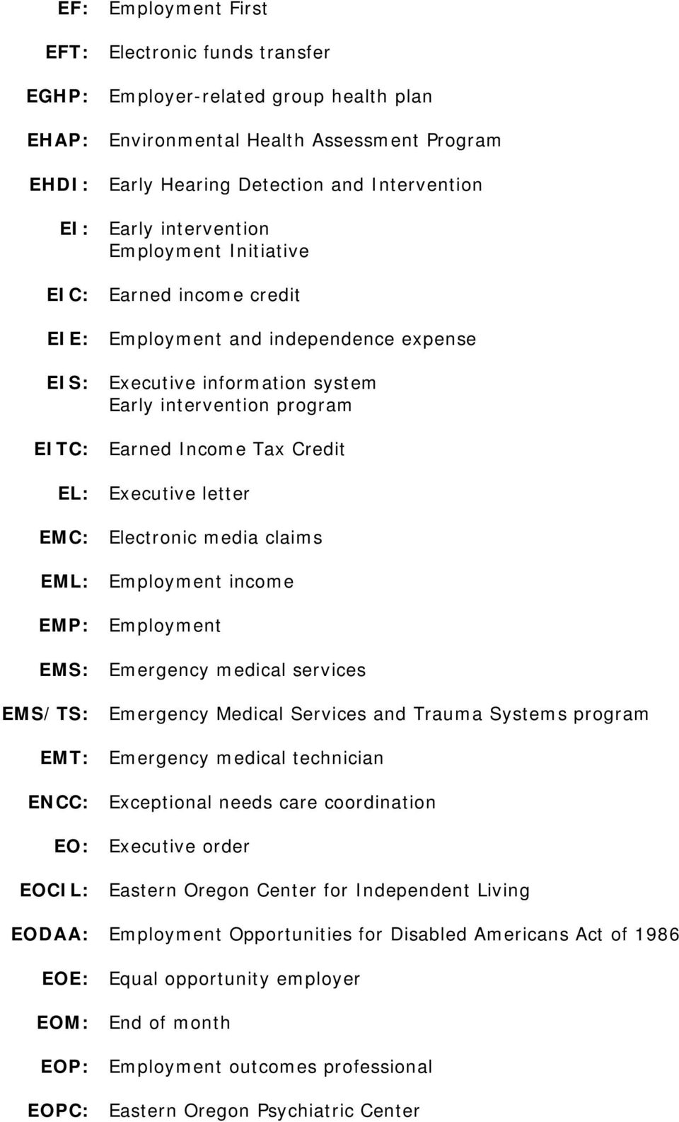 Executive letter EMC: Electronic media claims EML: Employment income EMP: Employment EMS: Emergency medical services EMS/TS: Emergency Medical Services and Trauma Systems program EMT: Emergency