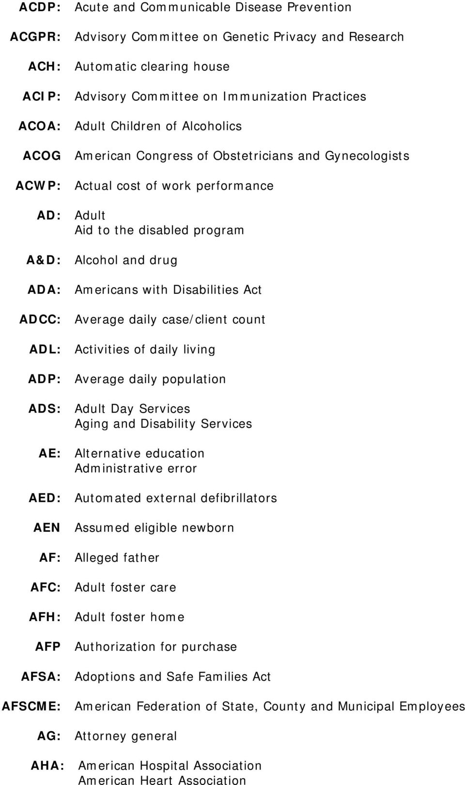 Disabilities Act ADCC: Average daily case/client count ADL: Activities of daily living ADP: Average daily population ADS: Adult Day Services Aging and Disability Services AE: Alternative education