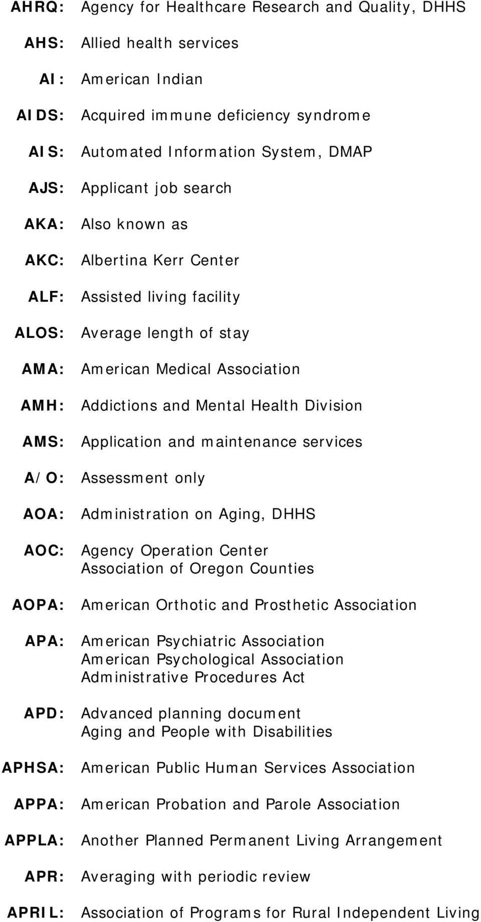 Application and maintenance services A/O: Assessment only AOA: Administration on Aging, DHHS AOC: Agency Operation Center Association of Oregon Counties AOPA: American Orthotic and Prosthetic