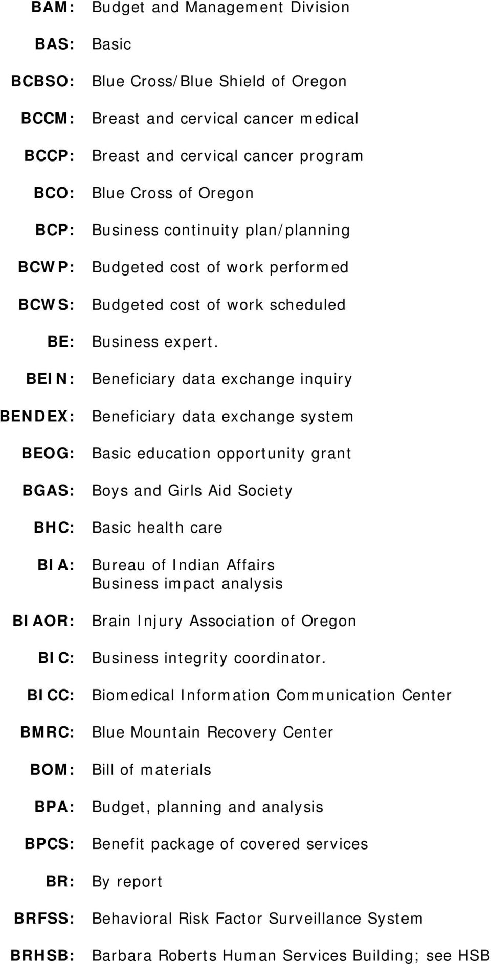 BEIN: Beneficiary data exchange inquiry BENDEX: Beneficiary data exchange system BEOG: Basic education opportunity grant BGAS: Boys and Girls Aid Society BHC: Basic health care BIA: Bureau of Indian