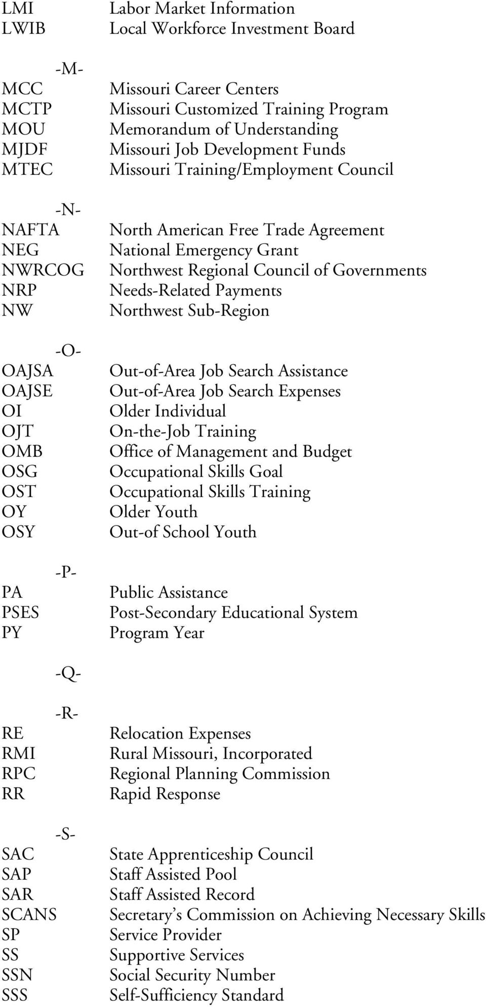 Regional Council of Governments Needs-Related Payments Northwest Sub-Region Out-of-Area Job Search Assistance Out-of-Area Job Search Expenses Older Individual On-the-Job Training Office of Management