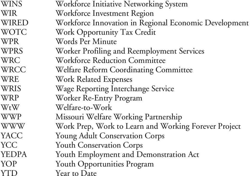 Reform Coordinating Committee Work Related Expenses Wage Reporting Interchange Service Worker Re-Entry Program Welfare-to-Work Missouri Welfare Working Partnership Work