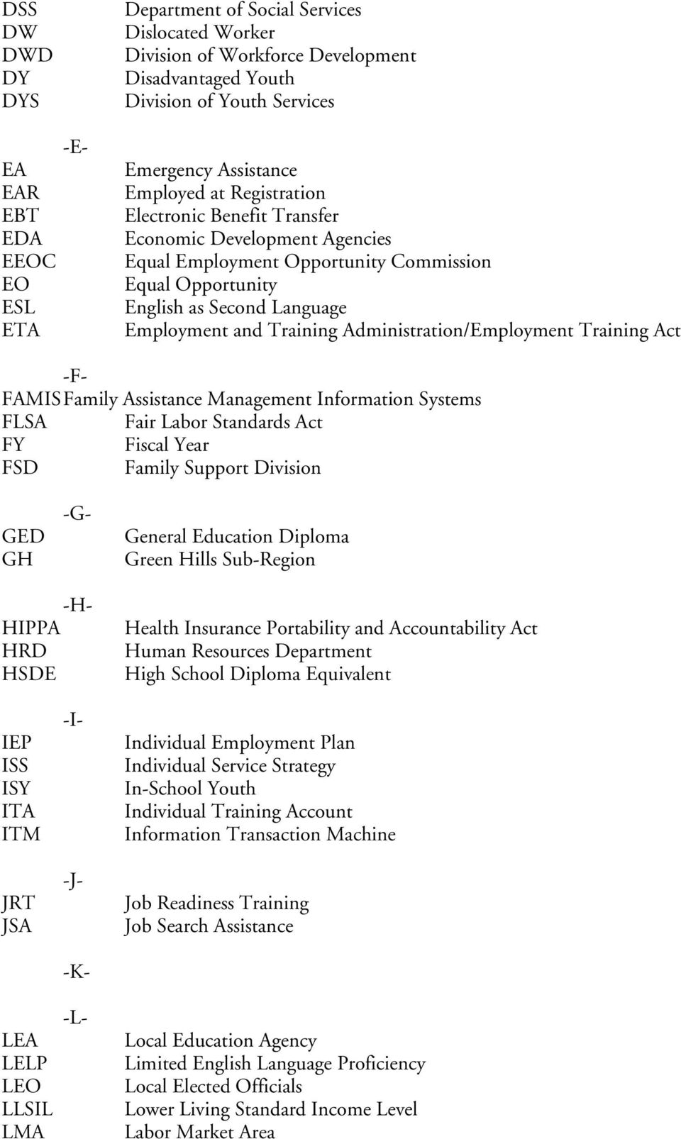 Training Administration/Employment Training Act -F- FAMIS Family Assistance Management Information Systems FLSA Fair Labor Standards Act FY Fiscal Year FSD Family Support Division GED GH -G- General
