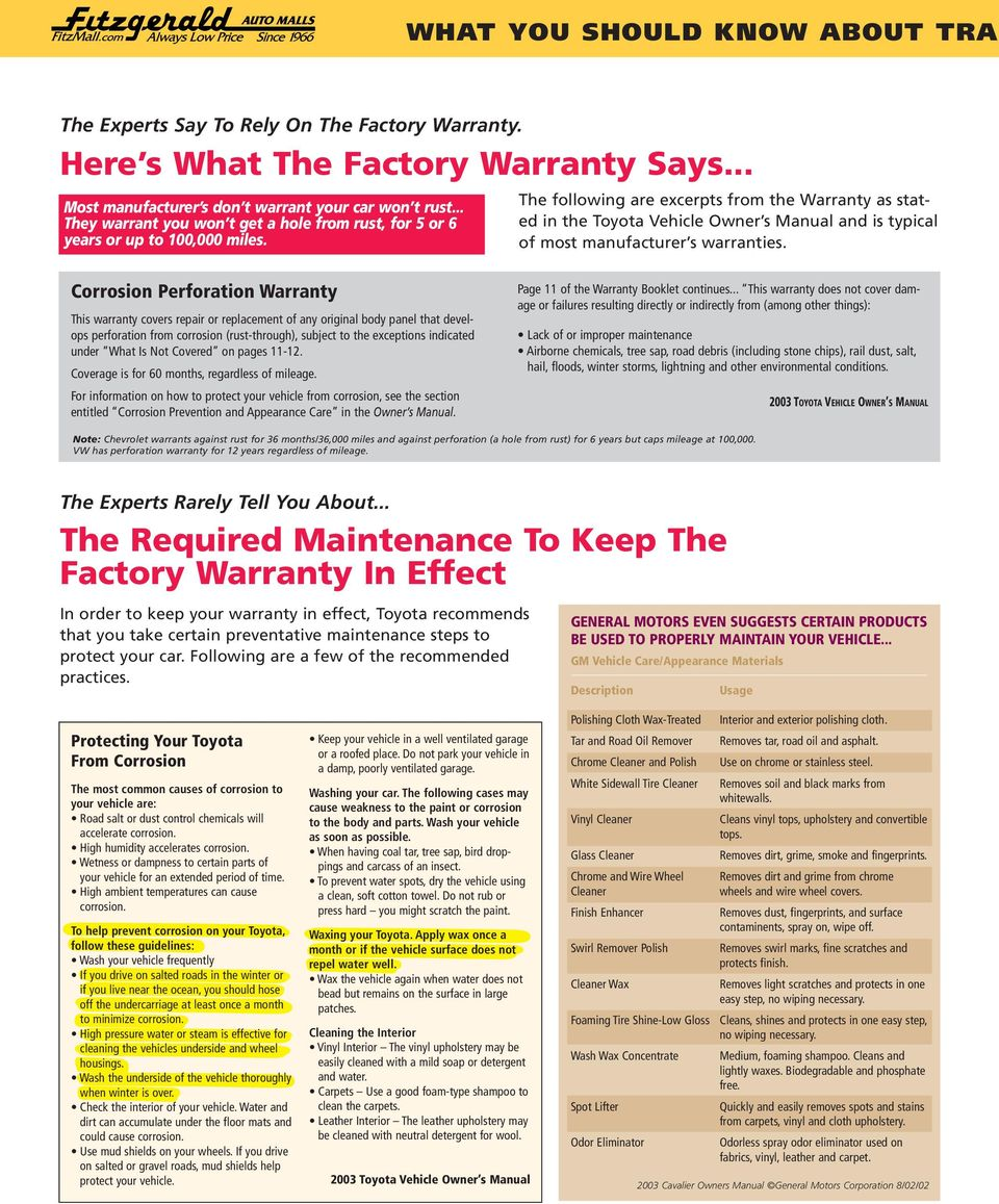 The foowing are excerpts from the Warranty as stated in the Toyota Vehice Owner s Manua and is typica of most manufacturer s warranties.