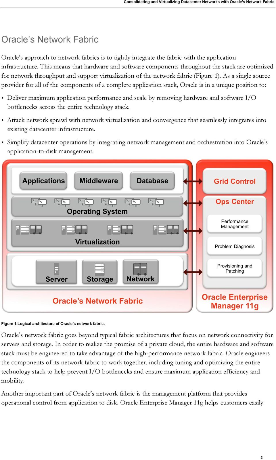 As a single source provider for all of the components of a complete application stack, Oracle is in a unique position to: Deliver maximum application performance and scale by removing hardware and