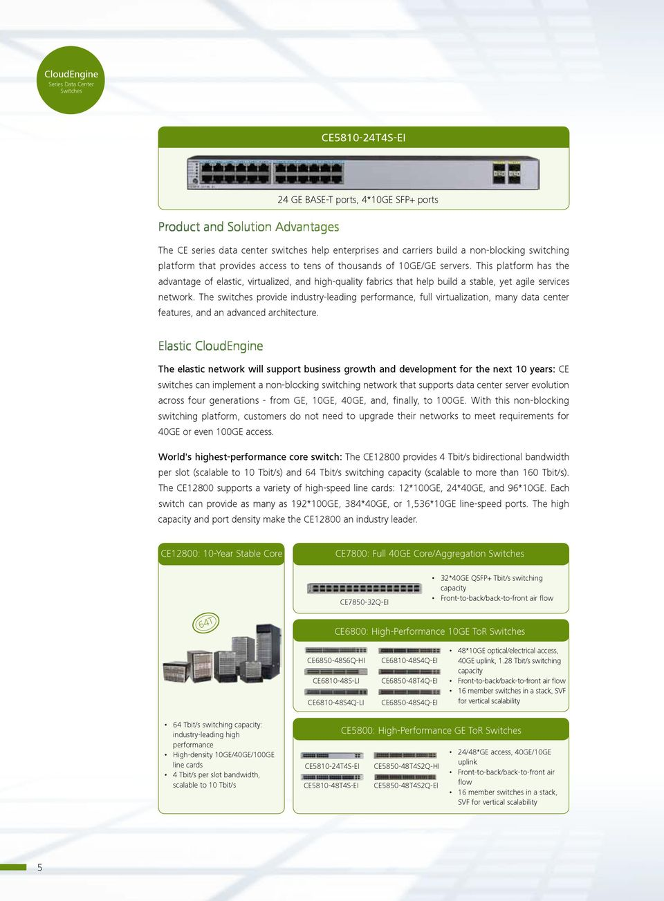 The switches provide industry-leading performance, full virtualization, many data center features, and an advanced architecture.