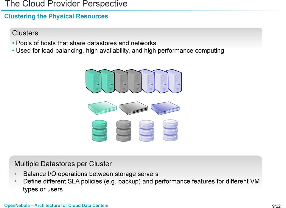 computing Multiple Datastores per Cluster Balance I/O operations between storage servers Define