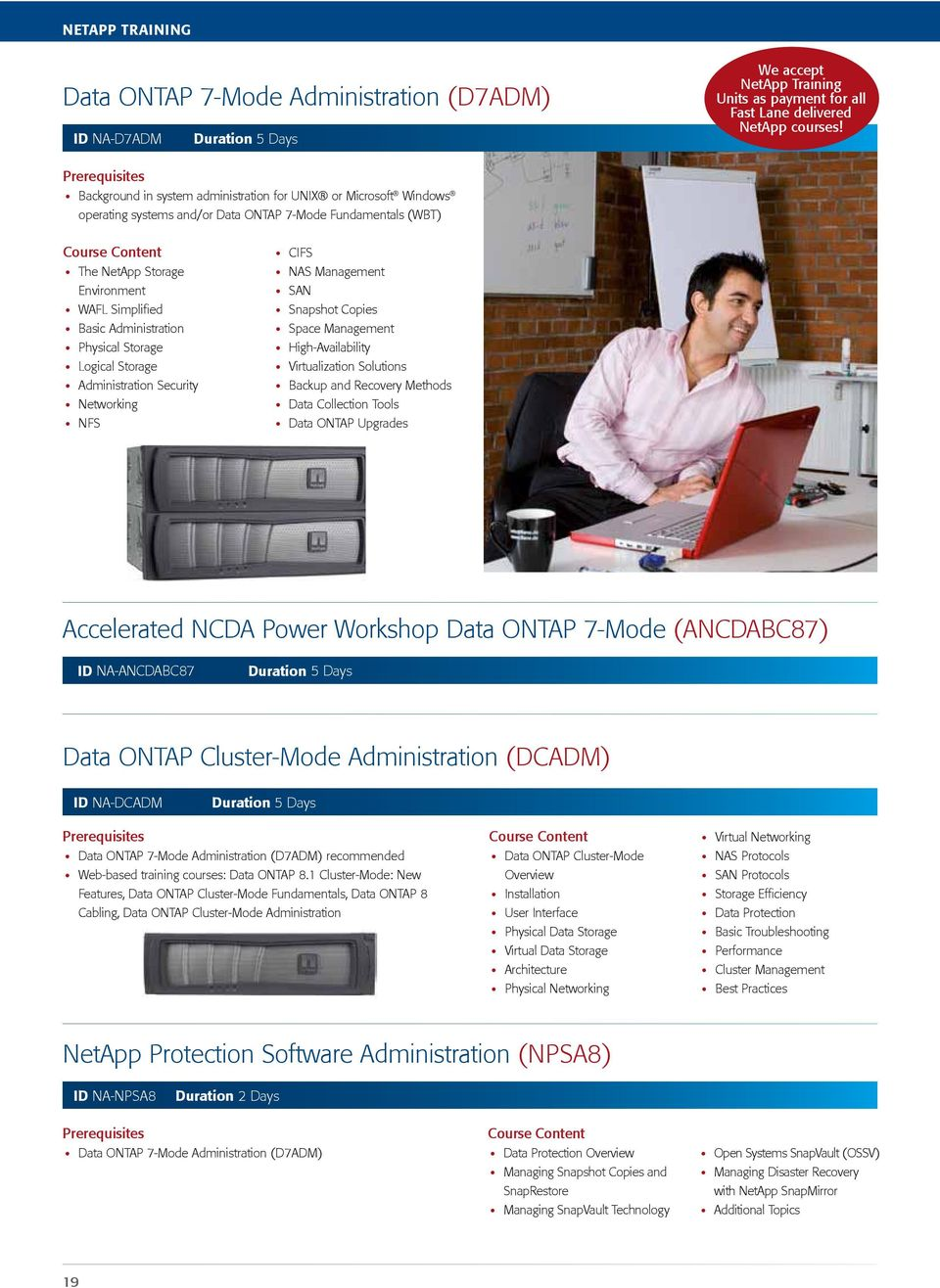 Physical Storage Logical Storage Administration Security Networking NFS CIFS NAS Management SAN Snapshot Copies Space Management High-Availability Virtualization Solutions Backup and Recovery Methods
