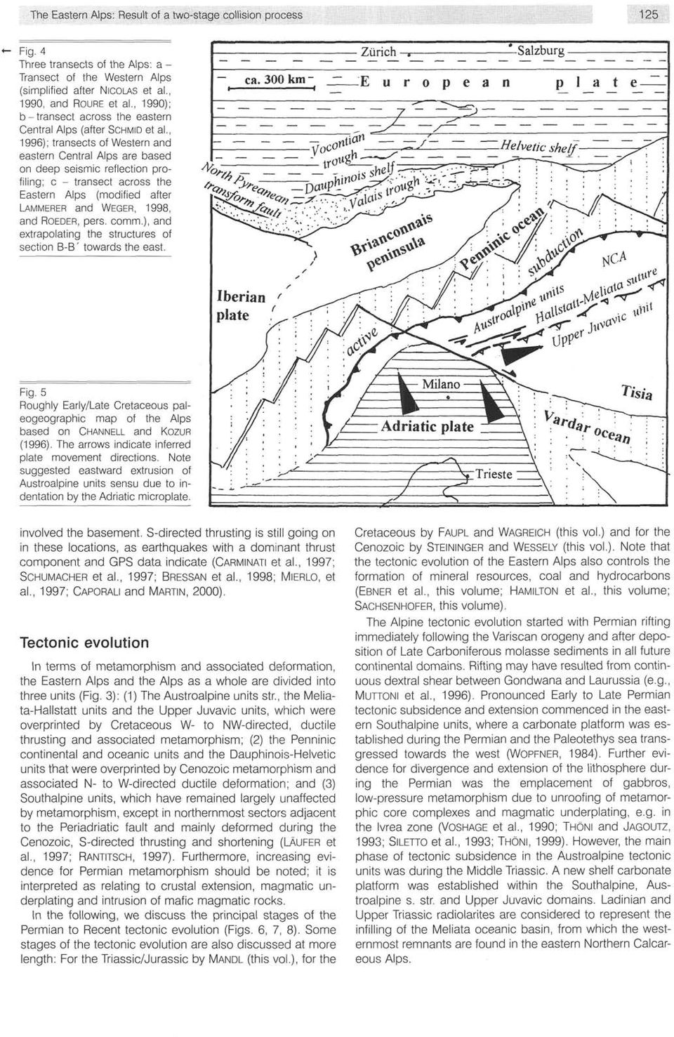 , 1996); transects of Western and eastern Central Alps are based on deep seismic reflection profiling; c - transect across the Eastern Alps (modified after LAMMERER and WEGER, 1998, and ROEDER, pers.