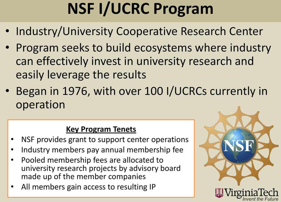 operation Key Program Tenets NSF provides grant to support center operations Industry members pay annual membership fee Pooled