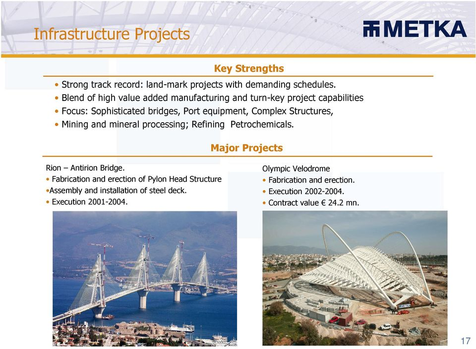 Structures, Mining and mineral processing; Refining Petrochemicals. Major Projects Rion Antirion Bridge.
