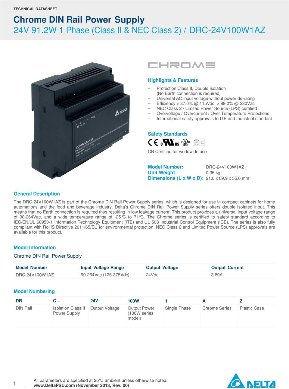 CB Certified for worldwide use Model Number: DRC-24V100W1AZ Unit Weight: 0.35 kg Dimensions (L x W x D): 91.0 x 89.9 x 55.