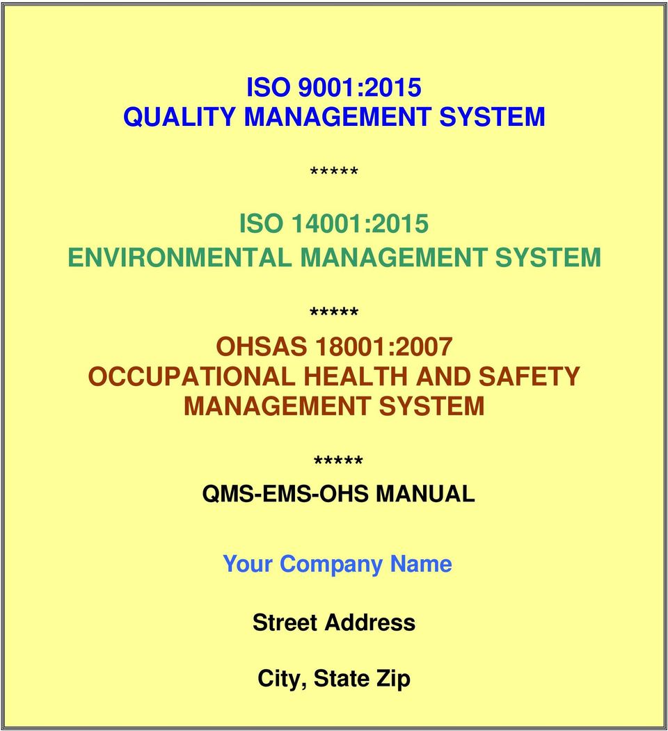 18001:2007 OCCUPATIONAL HEALTH AND SAFETY MANAGEMENT SYSTEM