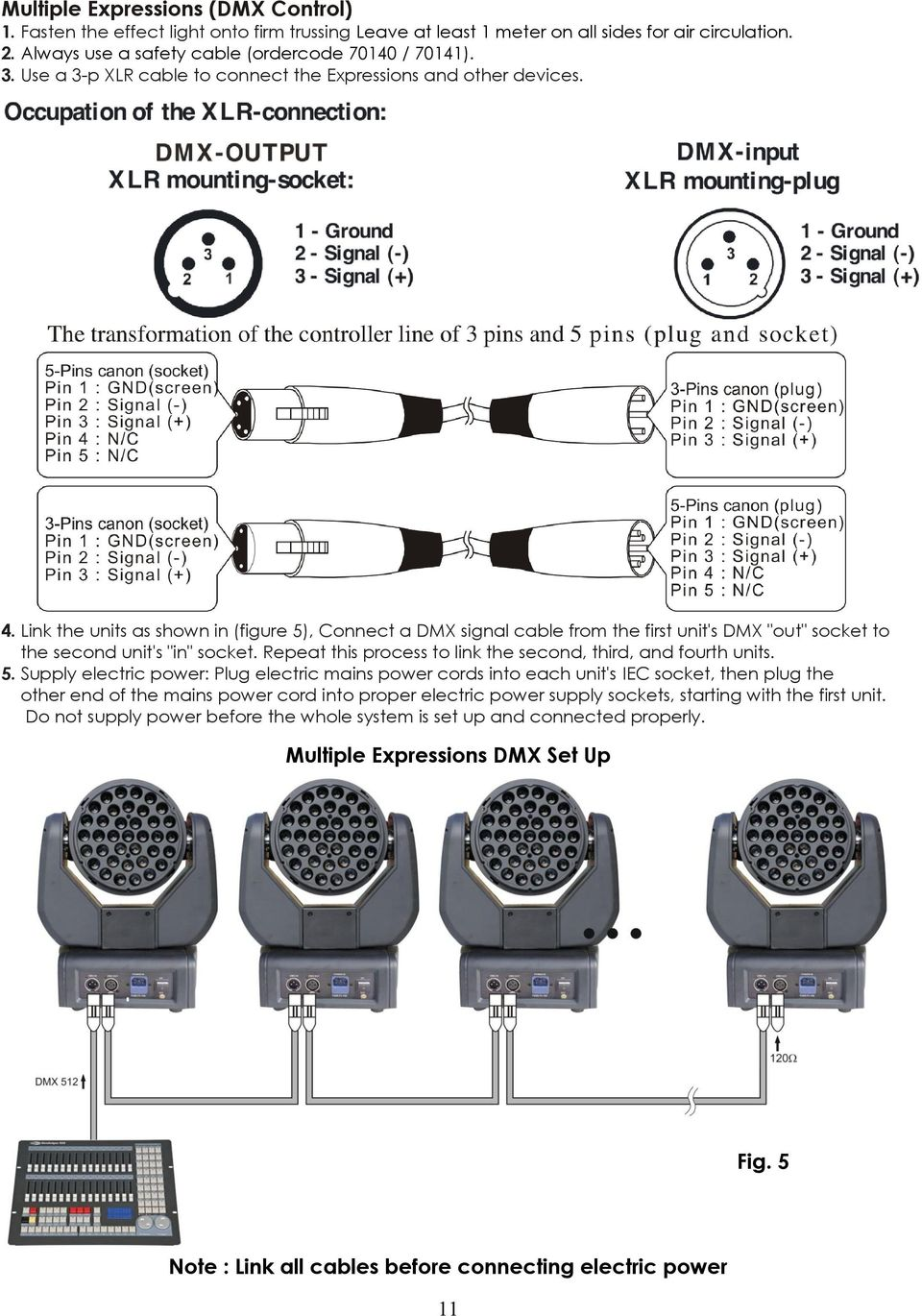 "Link the units as shown in (figure 5), Connect a DMX signal cable from the first unit's DMX ""out"" socket to the second unit's ""in"" socket."