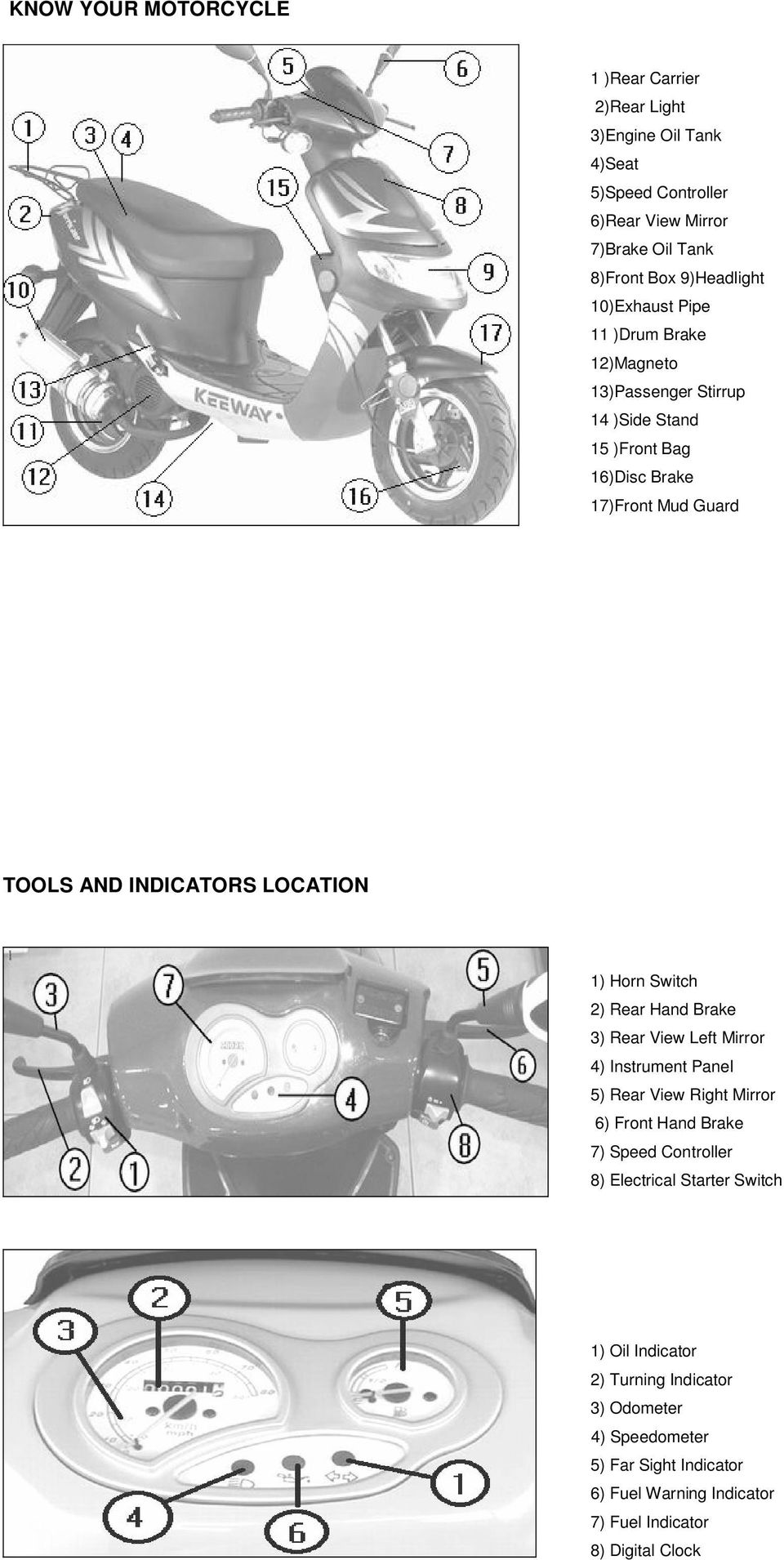 Horn Switch 2) Rear Hand Brake 3) Rear View Left Mirror 4) Instrument Panel 5) Rear View Right Mirror 6) Front Hand Brake 7) Speed Controller 8) Electrical