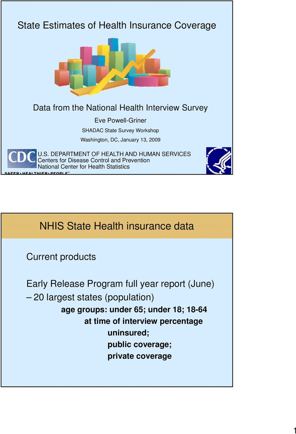 Prevention National Center for Health Statistics Current products Early Release Program full year report (June) 20 largest