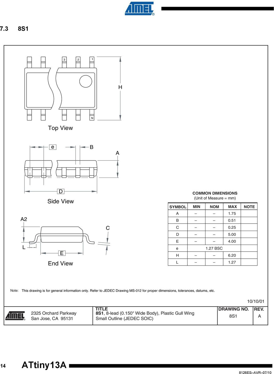 Refer to JEDEC Drawing MS-012 for proper dimensions, tolerances, datums, etc.
