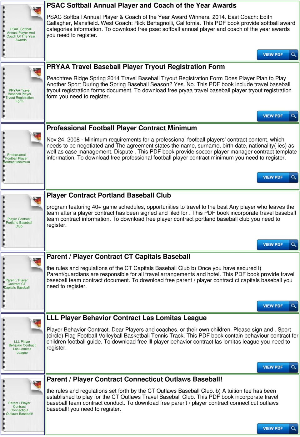 Travel softball player contract pdf for Football contract template