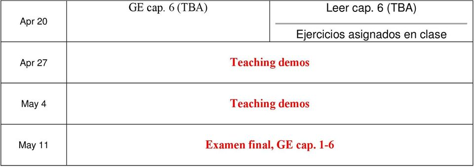 cap. 6 (TBA) May 4 Teaching