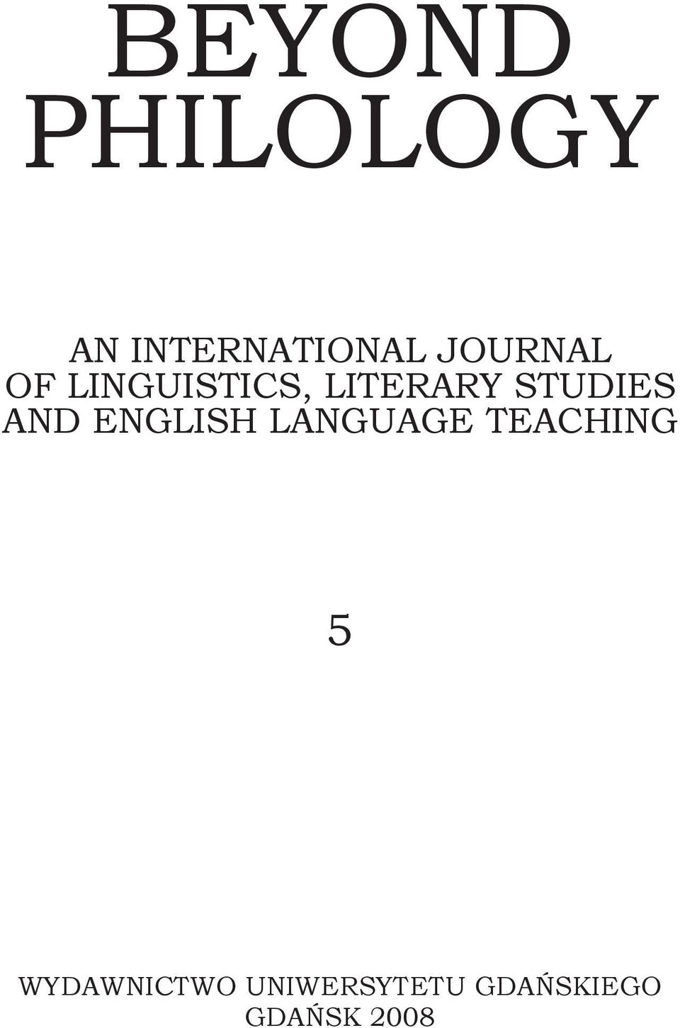 STUDIES AND ENGLISH LANGUAGE TEACHING