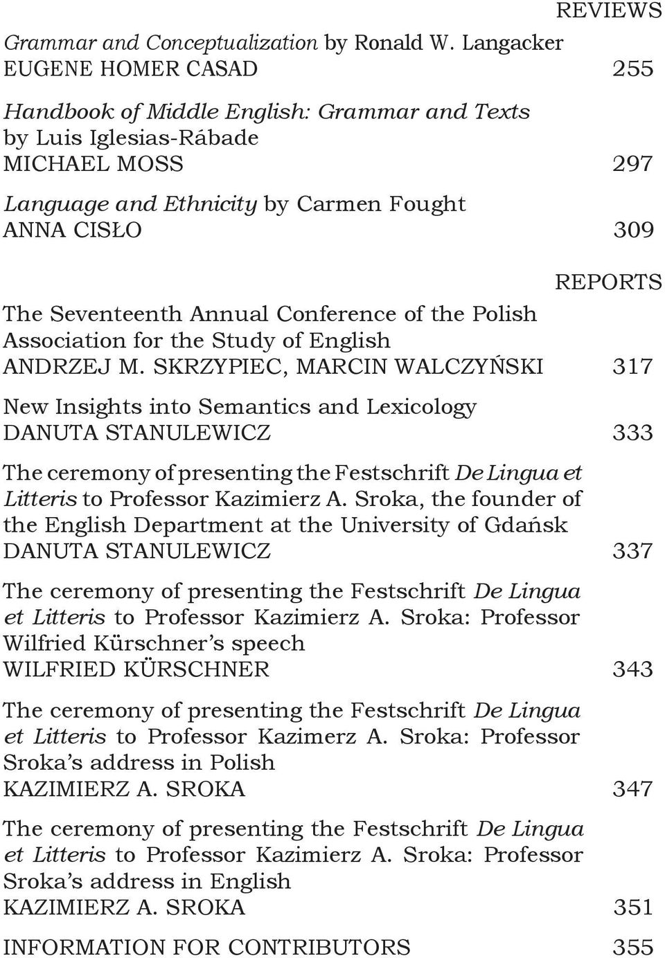 Annual Conference of the Polish Association for the Study of English ANDRZEJ M.