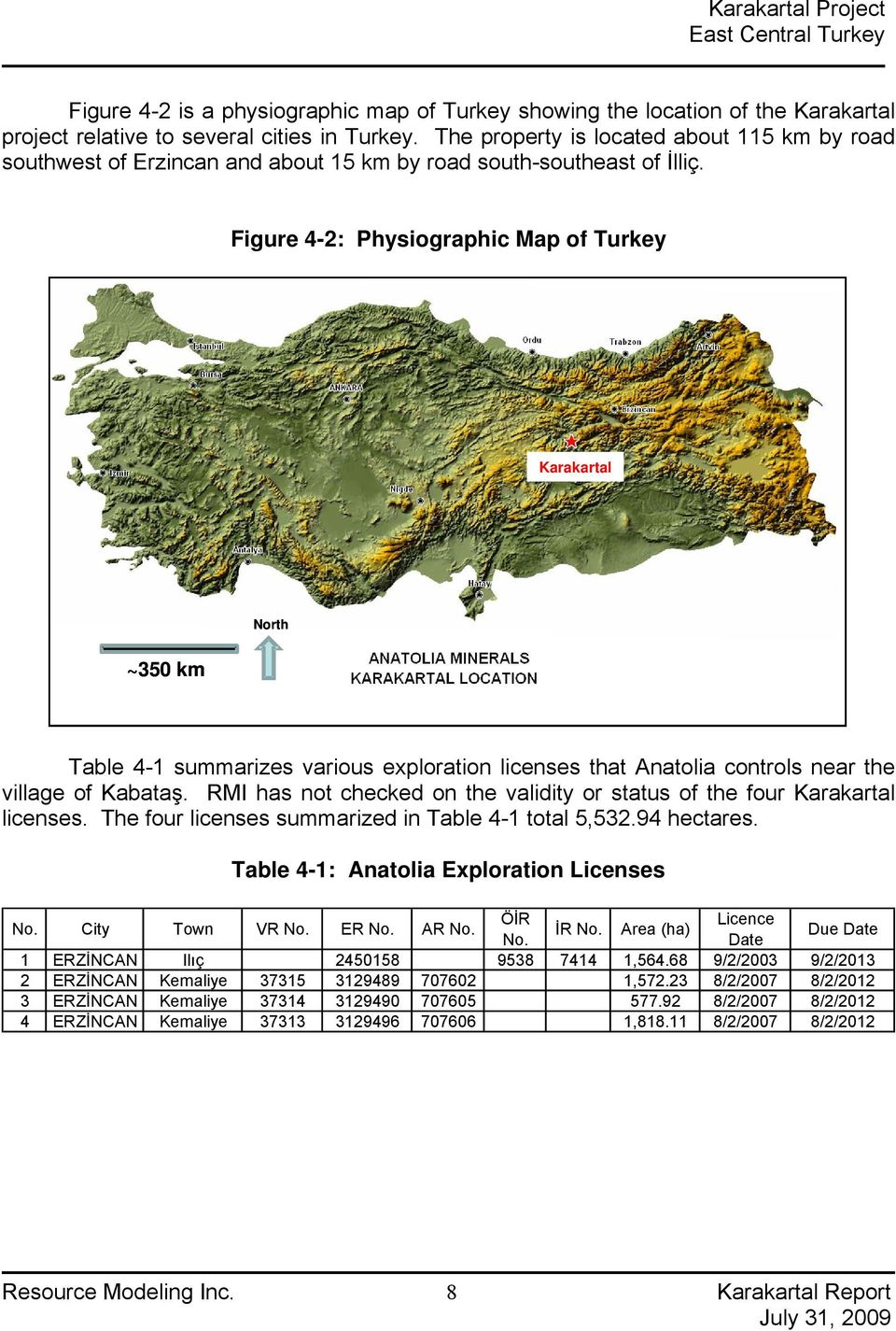 Figure 4-2: Physiographic Map of Turkey Karakartal ~35 km North Table 4-1 summarizes various exploration licenses that Anatolia controls near the village of Kabataş.