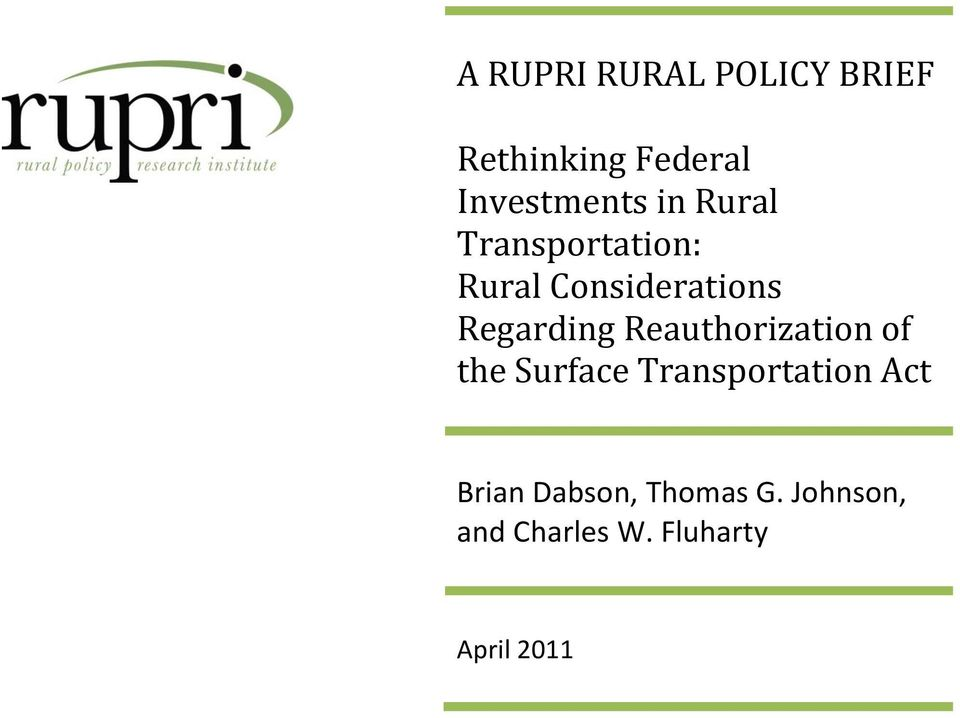 Reauthorization of the Surface Transportation Act Brian