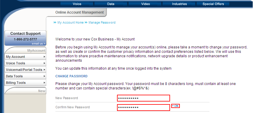 Administrator Activities Changing Your Password Figure 20. Reset Password link 1. Open the welcome email message you received from myaccount@coxbusiness.com. (See Figure 1.) 2.