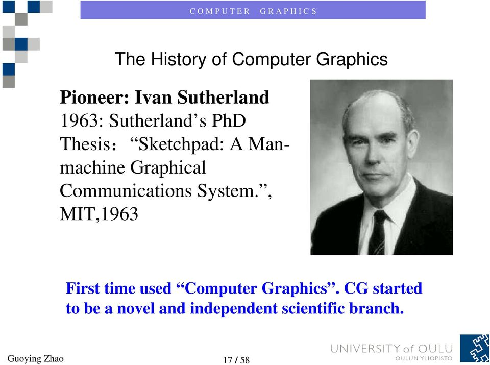 Communications System., MIT,1963 First time used Computer Graphics.