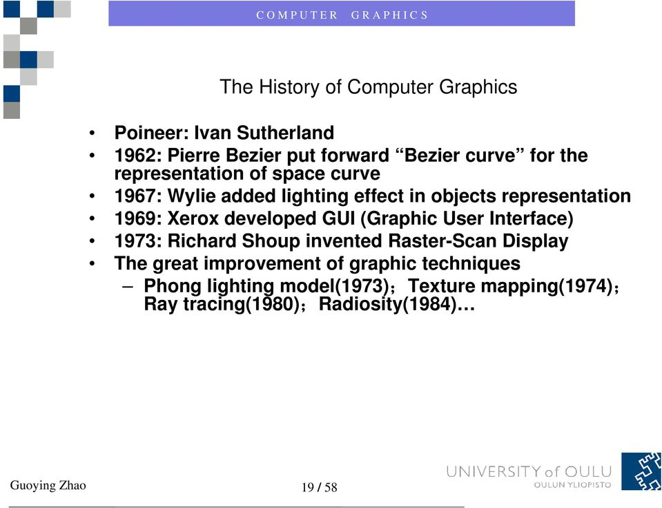 GUI (Graphic User Interface) 1973: Richard Shoup invented Raster-Scan Display The great improvement of graphic