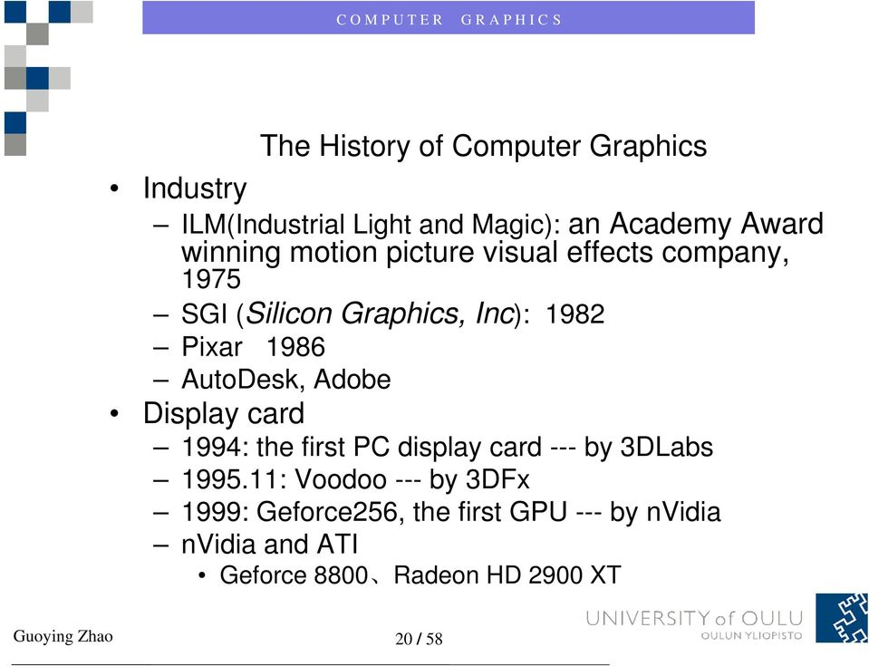 Adobe Display card 1994: the first PC display card --- by 3DLabs 1995.