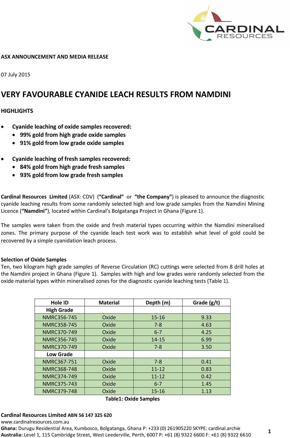 Cardinal or the Company ) is pleased to announce the diagnostic cyanide leaching results from some randomly selected high and low grade samples from the Namdini Mining Licence ( Namdini ), located