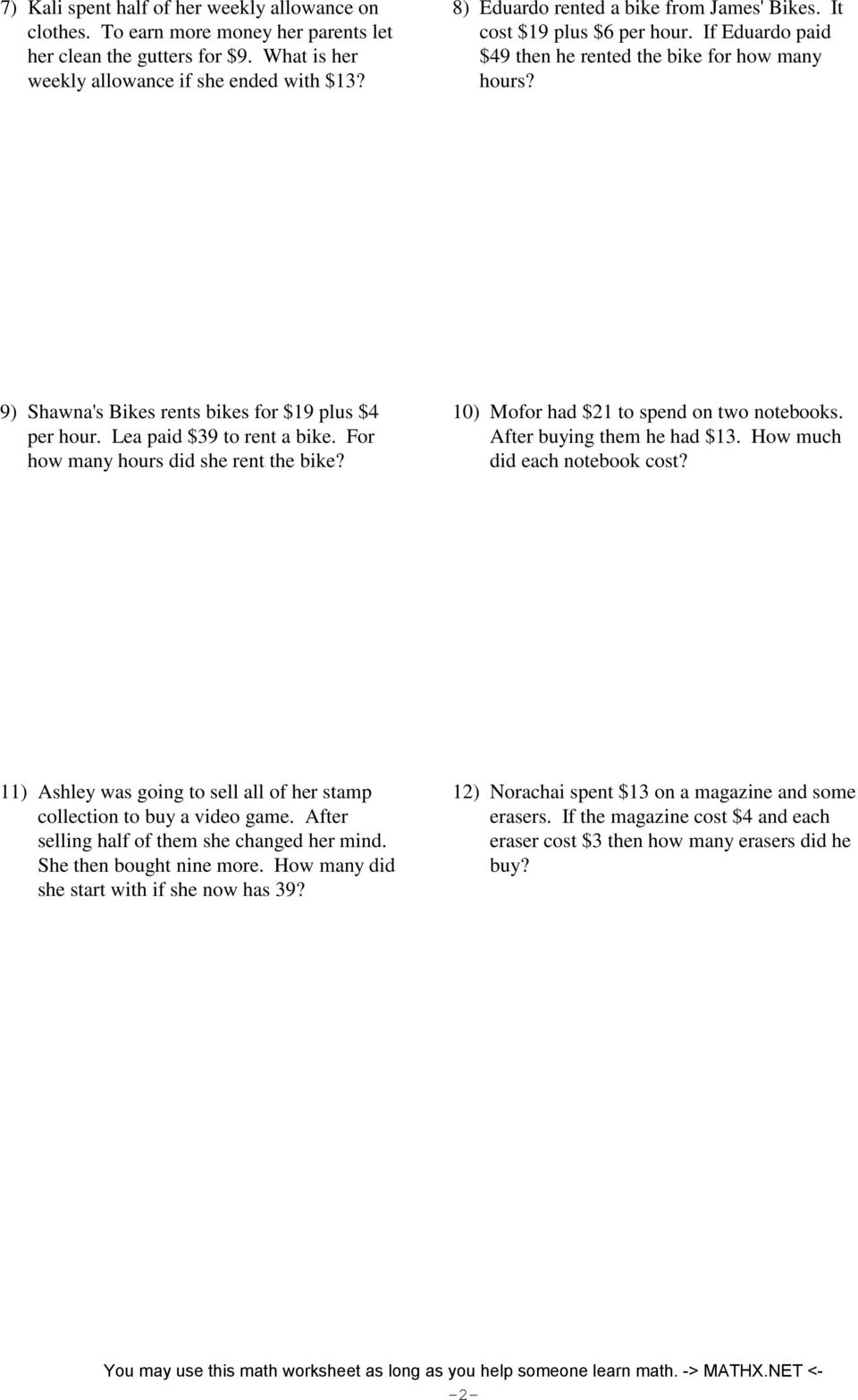 Multi Step Equations Worksheet 7th Grade – Multi Step Equation Word Problems Worksheet