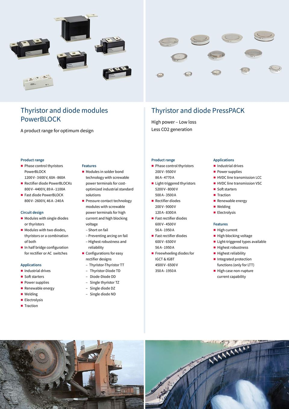 termials for cost- Light-triggered thyristors HVDC lie trasmissio VSC 800 V - 4400 V, 89 A - 1100A optimized idustrial stadard 5200 V - 8000 V Soft starters Fast diode PowerBLOCK solutios 500 A -