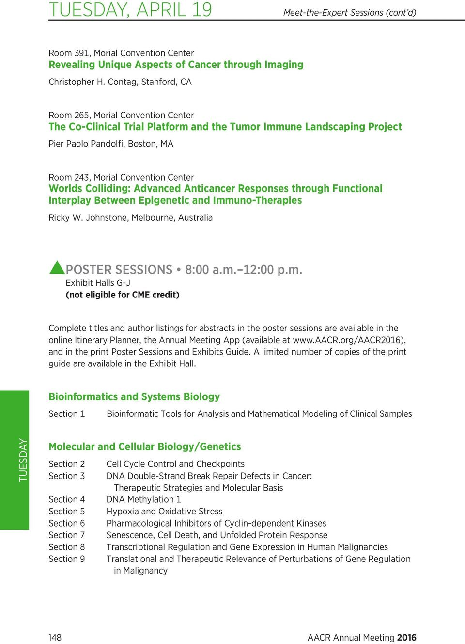 AACR Annual Meeting 2016 Program Guide PDF  Tuesday, April