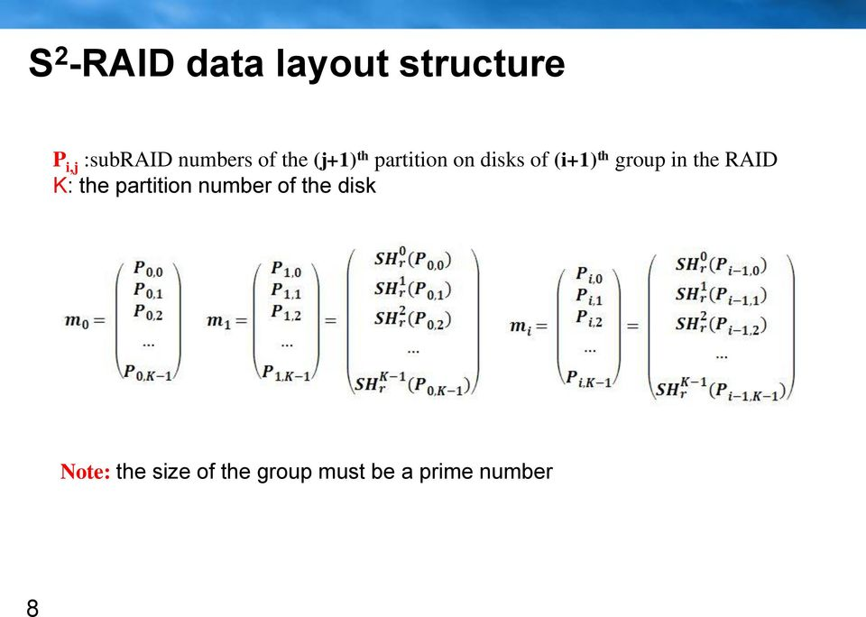 th group in the RAID K: the partition number of the