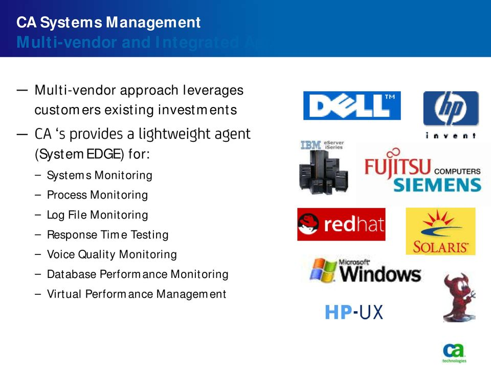 Monitoring Process Monitoring Log File Monitoring Response Time Testing