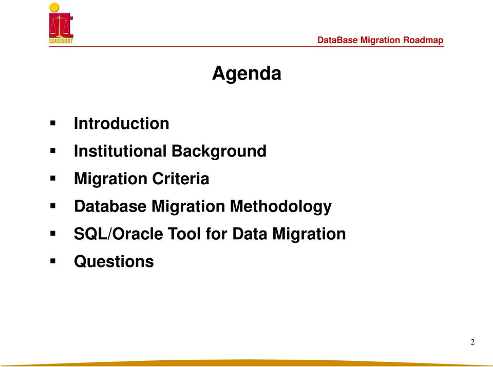 Database Migration Methodology