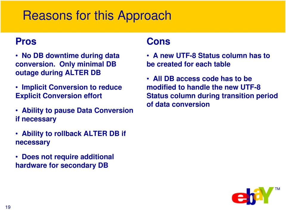 Conversion if necessary Cons A new UTF-8 Status column has to be created for each table All DB access code has to be