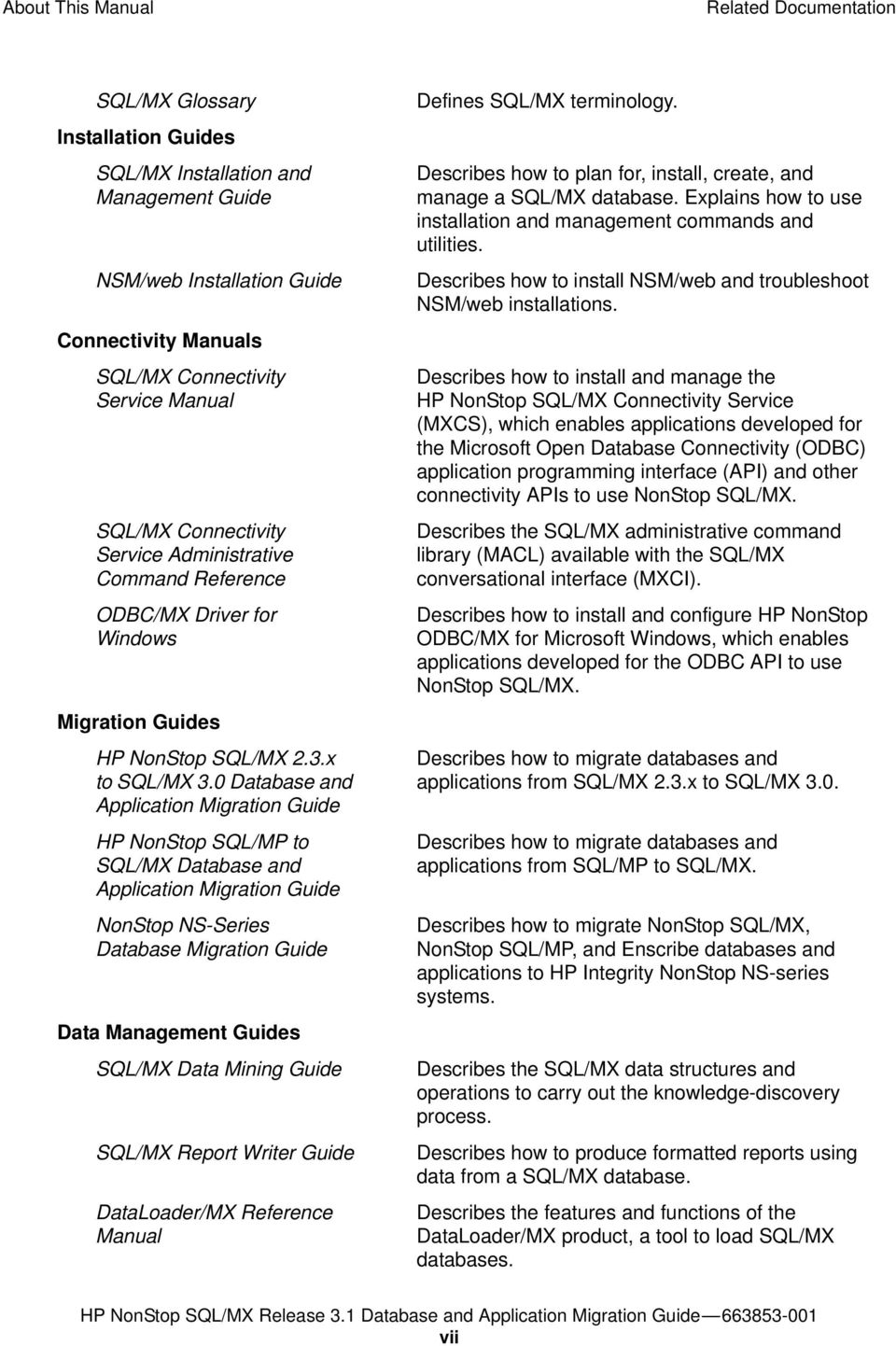 0 Database and Application Migration Guide HP NonStop SQL/MP to SQL/MX Database and Application Migration Guide NonStop NS-Series Database Migration Guide Data Management Guides SQL/MX Data Mining