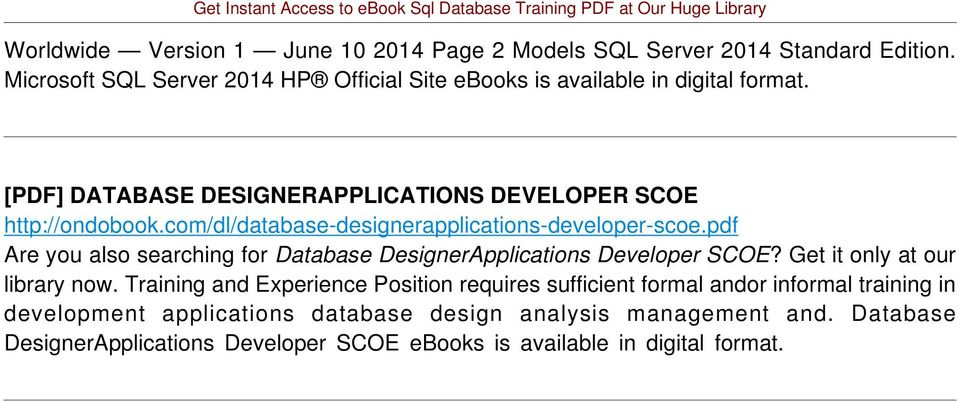 com/dl/database-designerapplications-developer-scoe.pdf Are you also searching for Database DesignerApplications Developer SCOE?