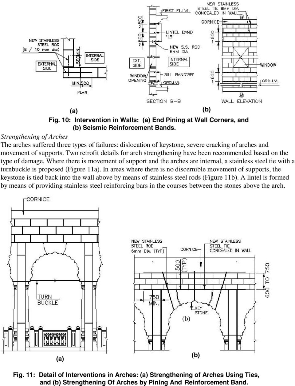 Two retrofit details for arch strengthening have been recommended based on the type of damage.