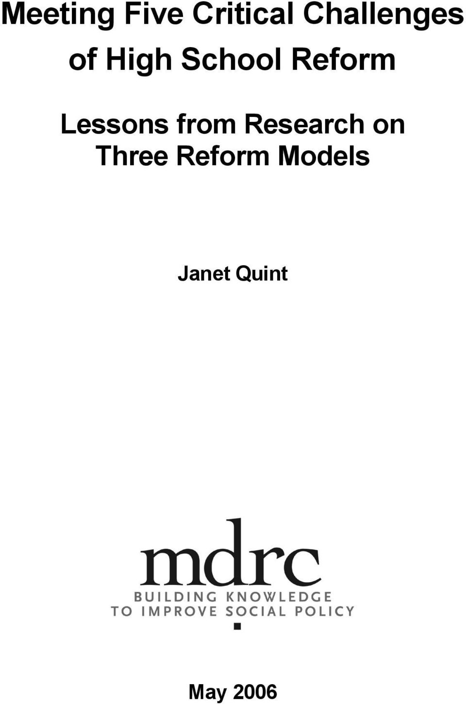 Reform Lessons from Research
