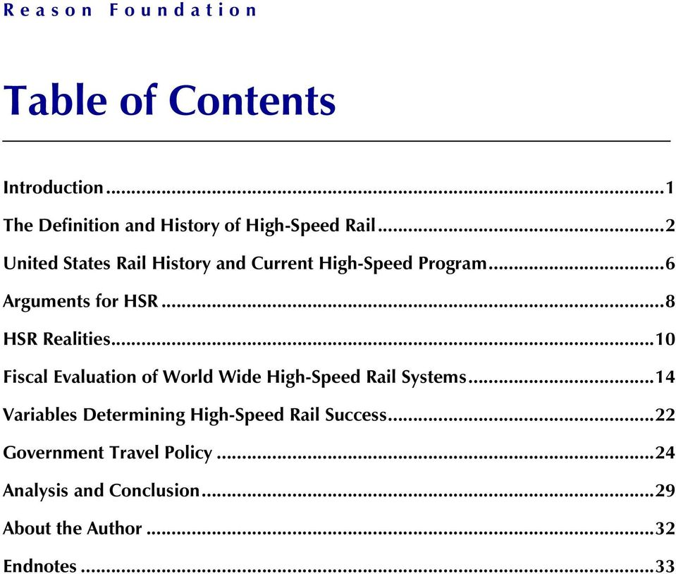 .. 10 Fiscal Evaluation of World Wide High-Speed Rail Systems.