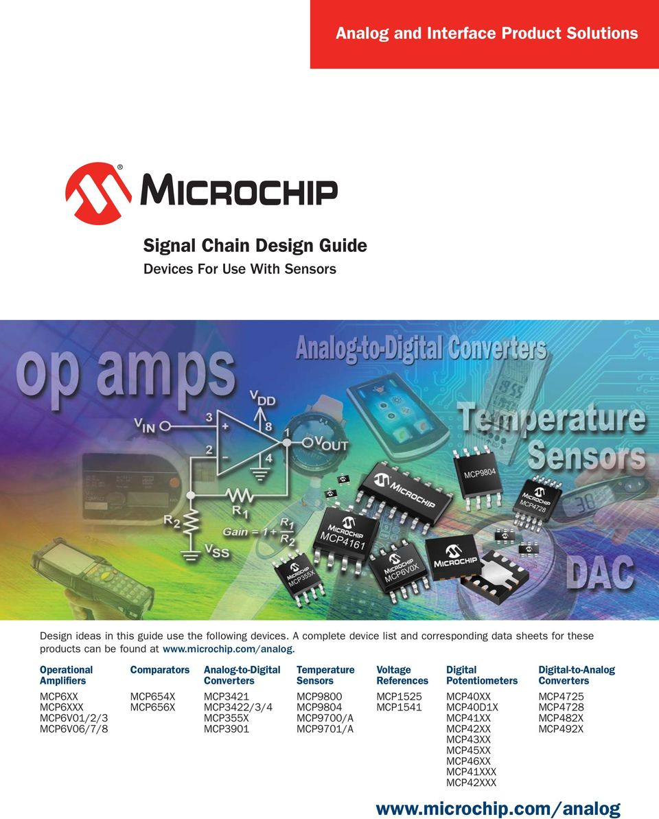 Operational Amplifiers Comparators Analog-to-Digital Converters Temperature Sensors Voltage References Digital Potentiometers Digital-to-Analog Converters MCP6XX MCP6XXX