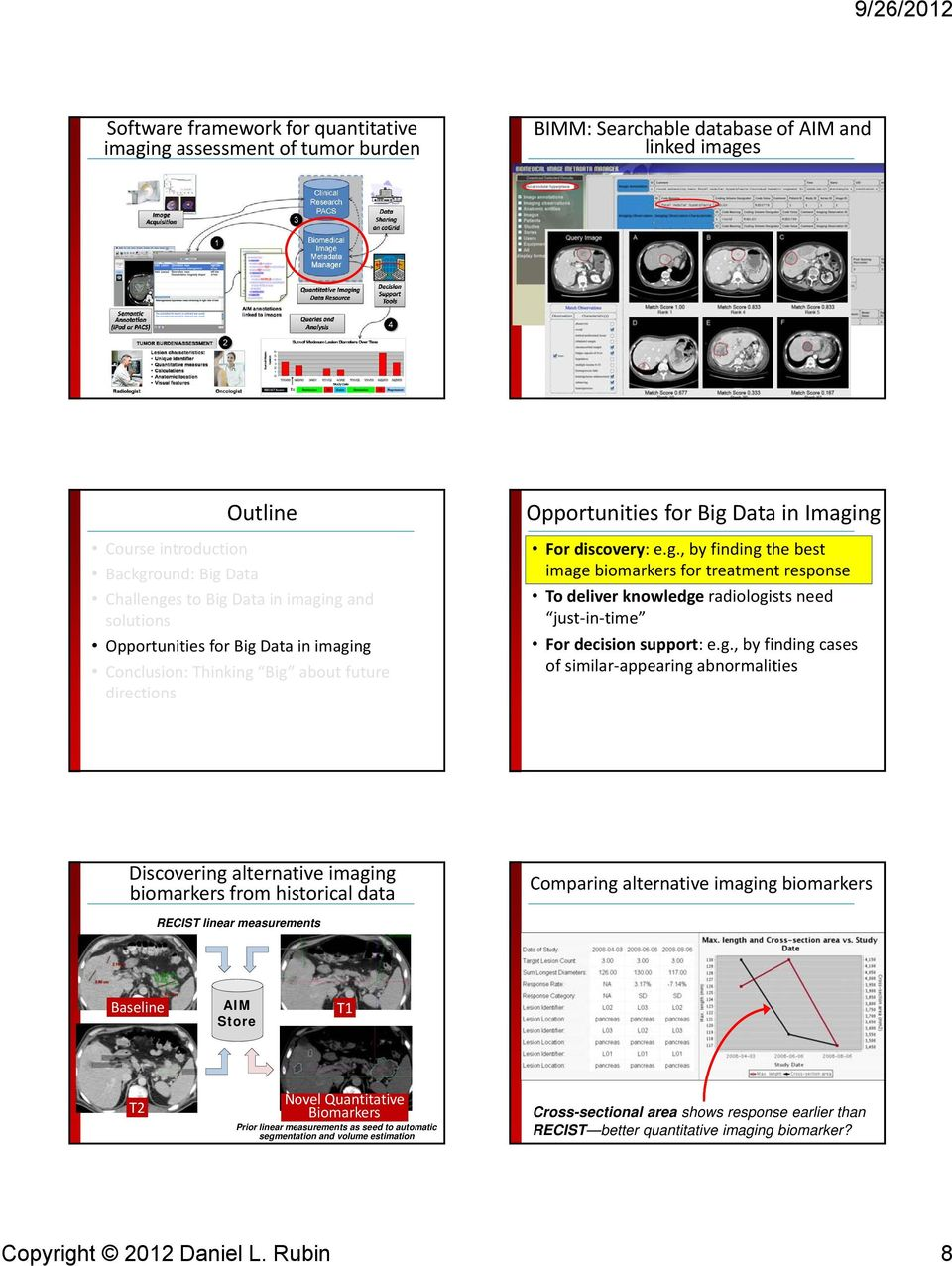 g., by finding cases of similar appearing abnormalities Discovering alternative imaging biomarkers from historical data Comparing alternative imaging biomarkers RECIST linear measurements Baseline