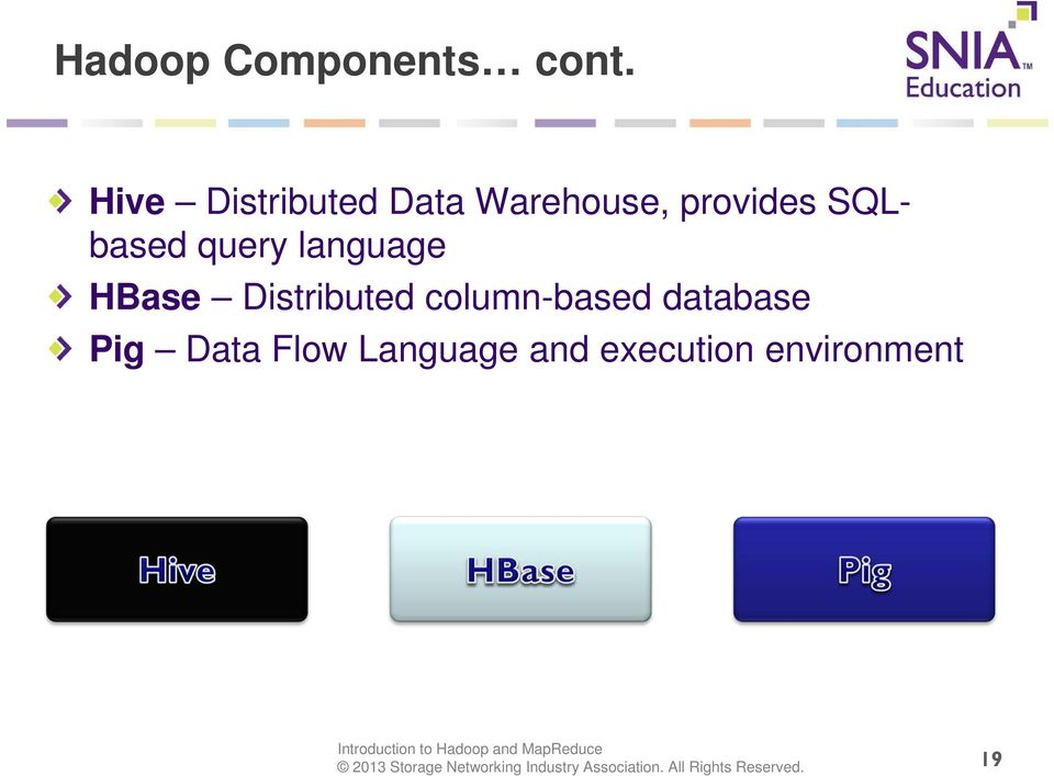 SQLbased query language HBase Distributed
