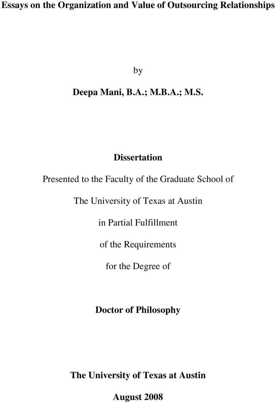 Dissertation Presented to the Faculty of the Graduate School of The University of